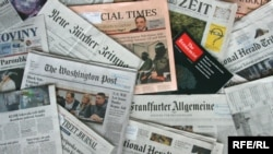 Generic – A photo of International and Russian newspapers, Prague, 19Jun2014