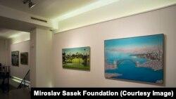 Miroslav Sasek's illustrations on display at the Gallery Ve Smeckach in Prague, 2014.
