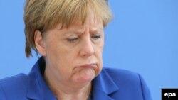 Федеральный канцлер Германии Ангела Меркель на пресс-конференции в Берлине 28 июля