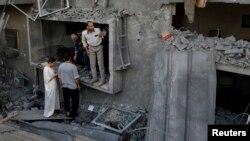 یکی از خانهها در شمال نوار غزه که روز شنبه هدف حمله هوایی اسرائیل قرار گرفت