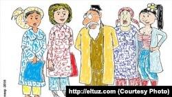 Бекорӣ занонро ба танфурӯшӣ тела медиҳад. Карикатураи рассоми узбак Элтуз