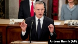 NATO Secretary-General Jens Stoltenberg addresses a joint meeting of Congress on Capitol Hill in Washington on April 3.
