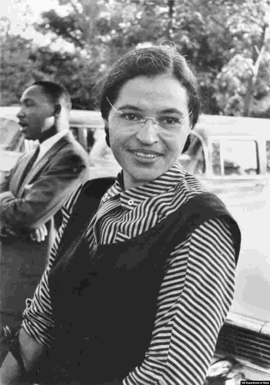 Civil rights activist Rosa Parks, pictured with Dr. Martin Luther King Jr. in 1955. Parks was arrested for refusing to give up her seat on a bus to a white passenger. Her act of civil disobedience marked the beginning of the Montgomery Bus Boycott, a protest campaign against segregation on public transport in the state of Alabama.