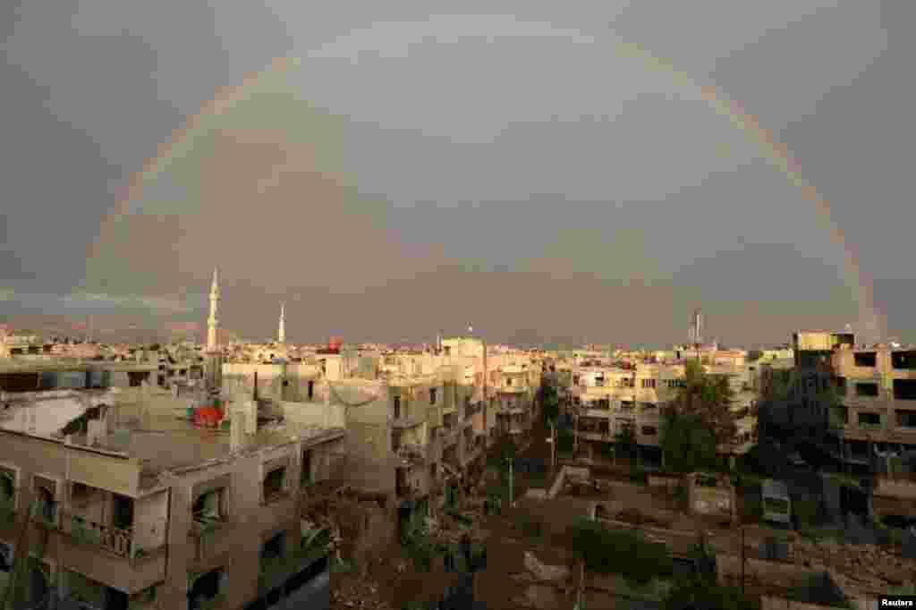A rainbow above the ruins of the hospital on October 29