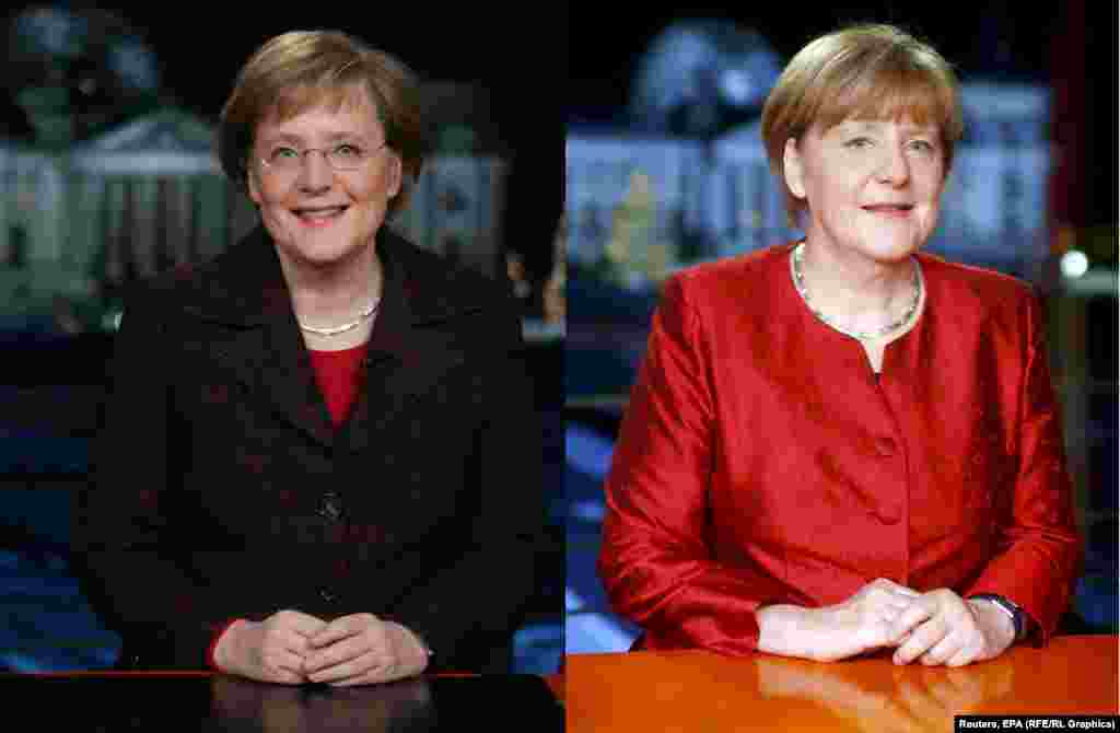 German Chancellor Angela Merkel in her first New Year's address in 2005 (left) and her latest.