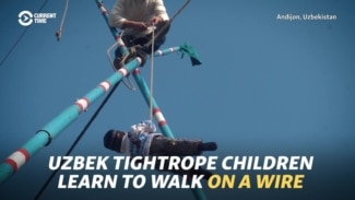 Uzbek Tightrope Children Learn To Walk On A Wire