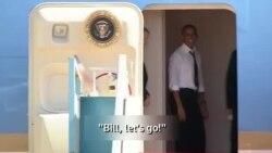 Obama Clintonu öz təyyarəsinə götürdü