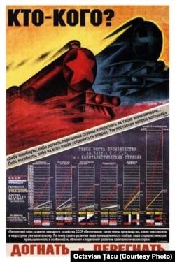 Afiș propagandistic sovietic (Cine pe Cine, Ajungem și Depășim) care reflectă rivalitatea dintre URSS și lumea capitalistă