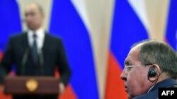 Сергей Лавров на выступлении Владимира Путина.