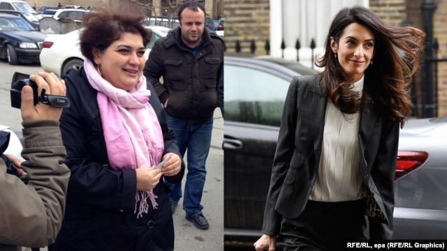 Amal Clooney (right) says the case against Khadija Ismayilova (left) was wholly politically motivated, aimed at keeping her from continuing her corruption investigations of President Ilham Aliyev and his family members.