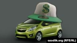 Автомобиль марки Spark автоконцерна GM-Uzbekistan. Коллаж РСЕ/РС.
