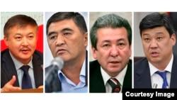 """""""Бүтүн Кыргызстан"""" партиясынын төрагасы Адахан Мадумаров, """"Ата Журттун"""" лидерлери Акматбек Келдибеков, Камчыбек Ташиев жана """"Өнүгүү-Прогресс"""" партиясынын башчысы Бакыт Төрөбаев."""