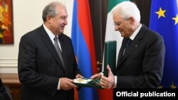 Армен Саркисян (слева) и Серджио Маттарелла, Ереван, 31 июля 2018 г․