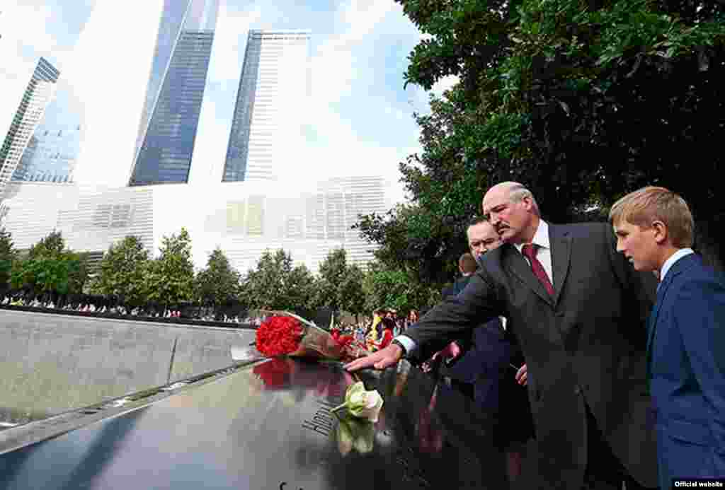 Lukashenka and Kolya lay a wreath at the September 11 memorial in New York on September 27.