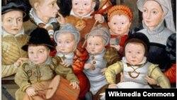 Портрет матери и ее восьмерых детей. Художник круга Якоба Зайзенеггера.1565