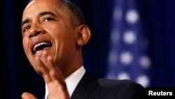 Президент США Барак Обама выступает в Министерстве юстиции США 17 января 2014 года с речью о реформирования АНБ