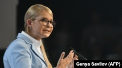 Yulia Tymoshenko delivers a speech during a national forum in Kyiv on June 15.