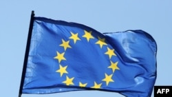 Germany -- A flag of the European Union flies in Berlin, 09May2011