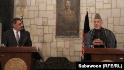 Пресс-конференция Хамида Карзая и Леона Панетты в Кабуле