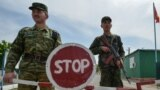 Kyrgyz border guards at a post in the village of Maksat on May 4.