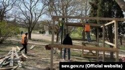 Капитальный ремонт Сквера севастопольских курсантов, апрель 2020 года