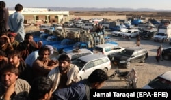 Pakistanis who deal in the Iranian gasoline trade across the border protest after the Pakistani government banned smuggled Iranian gasoline, in Panjgur, Balochistan Province, in October 2019.