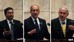 Амир Перец, Эхуд Олмерт и Беньямин Нетаньяху - ведущие кандидаты на выборах 28 марта