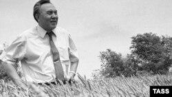 Егістік алқабында тұрған Назарбаев. 1992 жыл. (Көрнекі сурет)