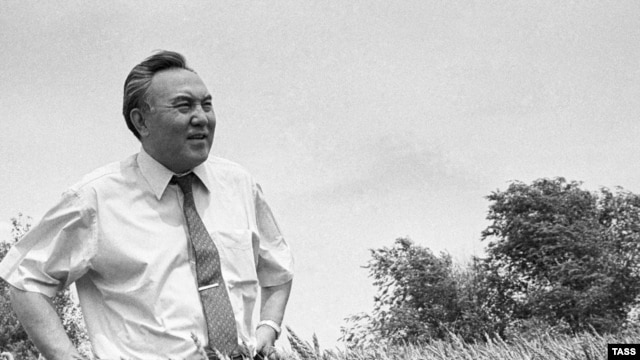President Nursultan Nazarbaev inspects a Kazakh wheat field in this 1992 photograph.