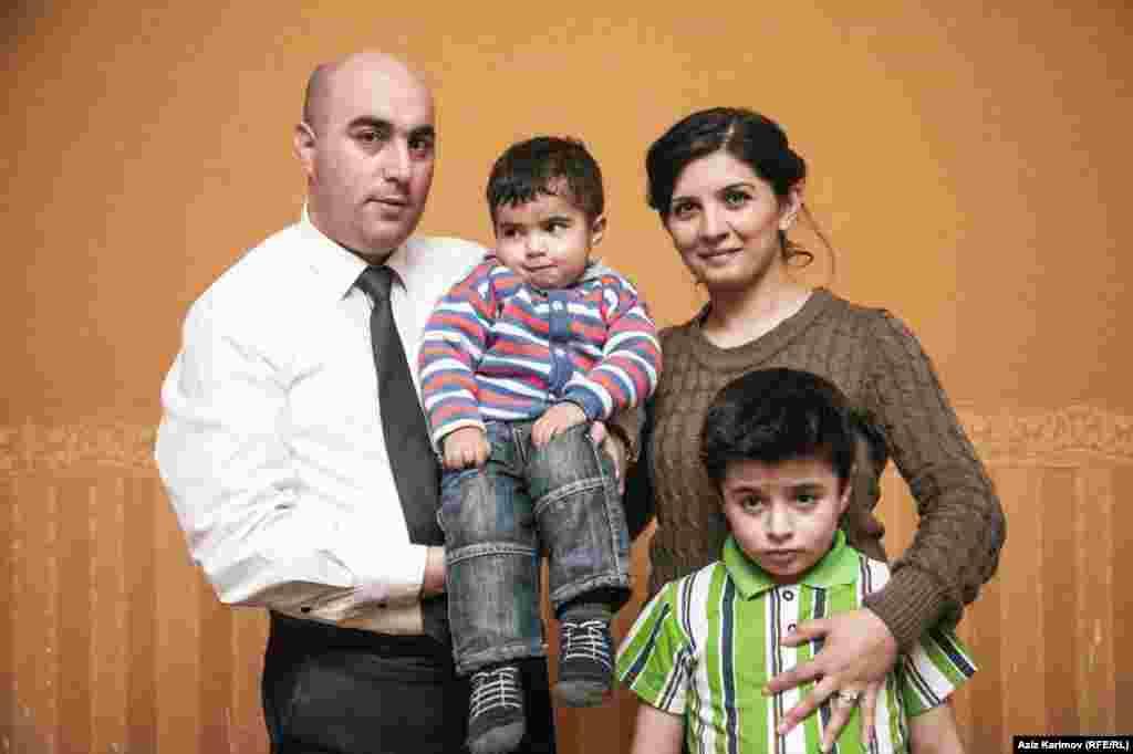 Rafiyeva with her family