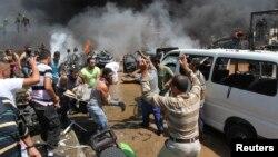 محل وقوع یکی از انفجارها در شهر طرابلس لبنان
