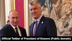 Predsednik Rusije Vladimir Putin sa predsednikom Kosova Hašimo Tačijem u Parizu