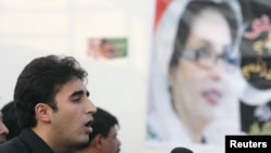 Bilawal Bhutto Zardari, son of assassinated former Prime Minister Benazir Bhutto, makes a speech to launch his political career during the fifth anniversary of his mother's death.