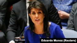 U.S. Ambassador to the UN Nikki Haley speaks during the emergency UN Security Council meeting on Syria in New York, on April 14.