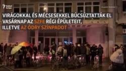 Piros-fehér virágokkal és mécsesekkel búcsúztatták az SZFE épületeit