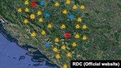 """Mapa """"Bosanskog atlasa ratnih zločina 1992.-1995."""""""