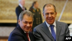 Russian Foreign Minister Sergey Lavrov (right) and Defence Minister Sergei Shoigu (file photo)