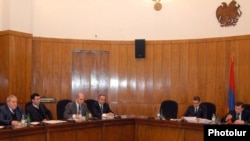 Armenia -- Prime Minister Tigran Sarkisian holds a weekly meeting of his cabinet, undated.