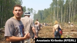 Khimki forest defenders walking the area in late July.