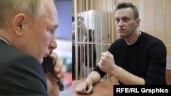 Президентът на Русия Владимир Путин (вляво) и Алексей Навални. Колаж.