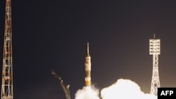 The Russian Soyuz rocket blasting off from Kazakhstan's Baikonur launching pad on April 5.