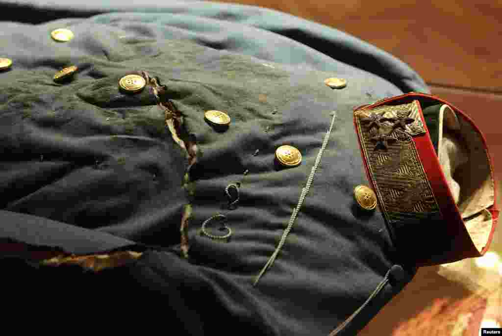 The cavalry general's uniform worn by Archduke Franz Ferdinand of Austria at the time of his assassination. It is shown on display at the Museum of Military History in Vienna.