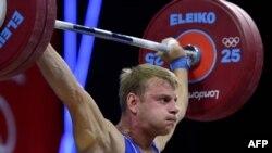 Қазақстандық ауыр атлет Кирилл Павлов. Лондон, 1 тамыз 2012 жыл.