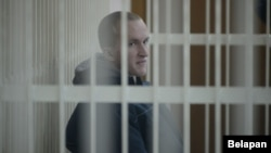 Ulad Kazakevich in a Minsk courtroom on March 3