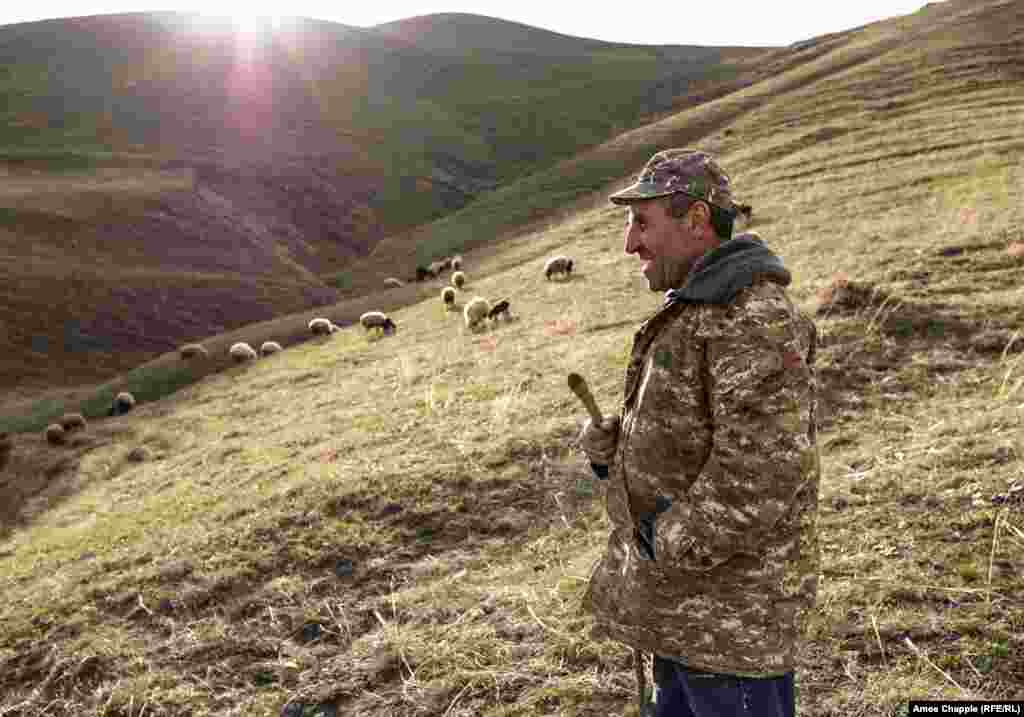 "Radek, a shepherd in the village of Lernavan on April 18, was one of eight working Armenians who opened up about how their country's 2018 ""velvet revolution"" had affected their lives in What's Changed? Armenia One Year After Revolution. (Amos Chapple, RFE/RL)"