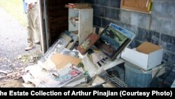 The garage of Arthur Pinaijan's house where thousands of his works were rediscovered after his death. His estate is now worth tens of millions of dollars.
