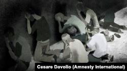 Камера в тюрьме Сайеднайя. Рисунок художника для доклада Amnesty International по воспоминаниям заключенных