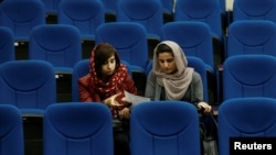 Female students of American University of Afghanistan attend new orientation sessions at a American University | Kabul, March 27, 2017