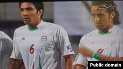 Iran's national soccer team players in World Cup qualifier v. South Korea in Seoul on 17jun2009.Green waistband is seen on one player.