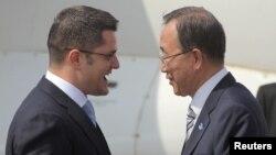 Vuk Jeremić i Ban Ki Mun u Beogradu, 23. jul 2012.